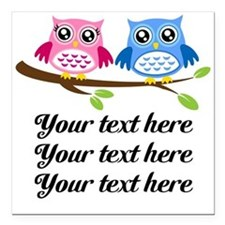 """personalized add text Owls Square Car Magnet 3"""" x"""