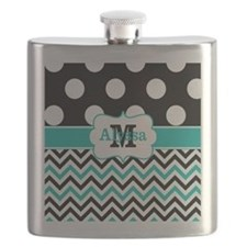 Black Teal Dots Chevron Personalized Flask