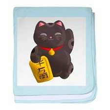 Lucky Cat Black baby blanket