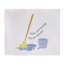 Mop And Bucket Throw Blanket