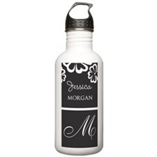 Gray and White Hibiscu Water Bottle