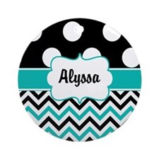 Black Blue Dots Chevron Personalized Ornament (Rou