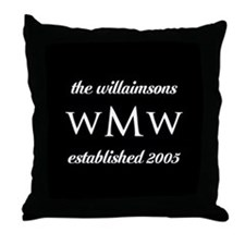Black and White Custom Monogram Throw Pillow