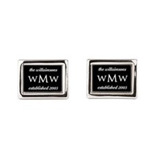 Black and White Custom Monog Rectangular Cufflinks
