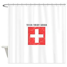 Custom Distressed Switzerland Flag Shower Curtain