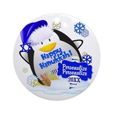 Happy Hanukkah Ornament (Round)