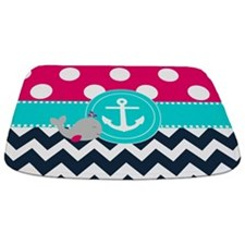 Navy Pink Dots Chevron Anchor Bathmat