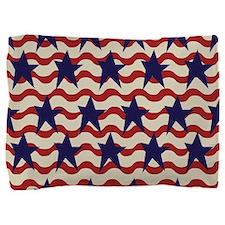 Vintage Patriotic USA Stars Stripes Pillow Sham