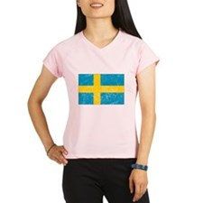 Distressed Sweden Flag Performance Dry T-Shirt