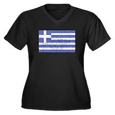 Distressed Greece Flag Plus Size T-Shirt