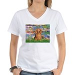 Lilies (2) & Doxie (LH-Sable) Women's V-Neck T-Shi