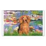Lilies (2) & Doxie (LH-Sable) Sticker (Rectangle)