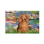 Lilies (2) & Doxie (LH-Sable) Rectangle Magnet (10