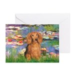 Lilies (2) & Doxie (LH-Sable) Greeting Cards (Pk o