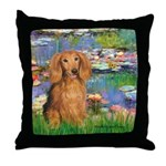 Lilies (2) & Doxie (LH-Sable) Throw Pillow