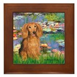 Lilies (2) & Doxie (LH-Sable) Framed Tile