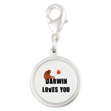 Darwin Loves You Silver Round Charm