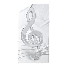 Treble Clef Music Notes Beach Towel