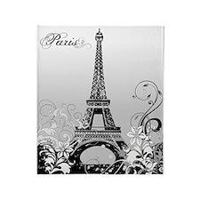Eiffel Tower Paris B/W Throw Blanket