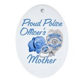 Blue Rose Police Mother Oval Ornament