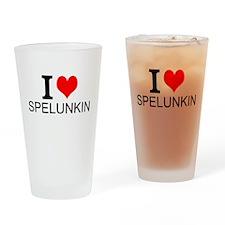 I Love Spelunking Drinking Glass