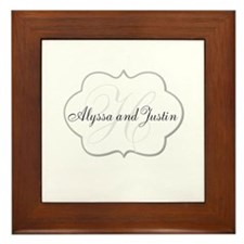 Elegant Monogram and Name Design Framed Tile