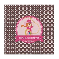 Brown and Pink Cowgirl Personalized N Tile Coaster