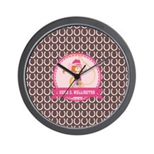 Brown and Pink Cowgirl Personalized Nam Wall Clock