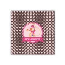 """Brown and Pink Cowgirl Pers Square Sticker 3"""" x 3"""""""