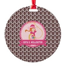 Brown and Pink Cowgirl Personalized Ornament
