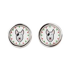Bull Terrier, Happy Holidots Round Cufflinks
