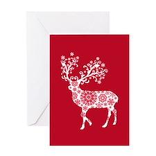 White Christmas deer Greeting Cards