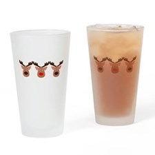 Red Nosed Reindeer Friends Drinking Glass