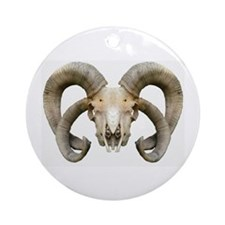 4 Horn Sheep Skull Ornament (Round)