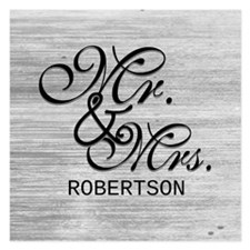 Gray and White Distressed M Invitations
