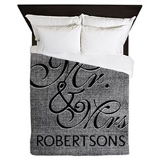 Black and White Mr. and Mrs.Personaliz Queen Duvet