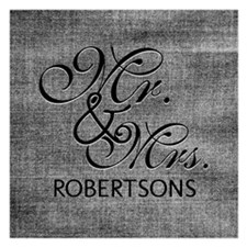 Black and White Mr. and Mrs 5.25 x 5.25 Flat Cards