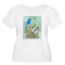 """MOUNTAIN BLUEBIRDS"" Plus Size T-Shirt"