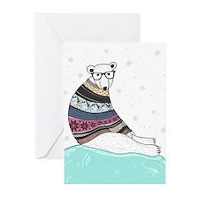 Hipster Polar Bear Greeting Cards