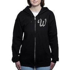 Letter W Chevron Monogram Women's Zip Hoodie