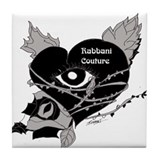 Rabbani Couture heart bw Tile Coaster