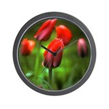 Wall Clock:  Red Tulip Buds