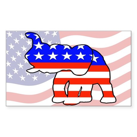 Republican GOP Logo Elephant Rectangle Sticker
