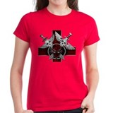 Alien Skull N Crossbones Red Tee