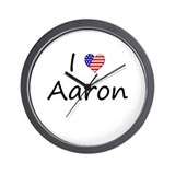 "I ""Heart"" Aaron Wall Clock"