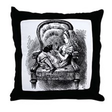 Alice and Kitten Throw Pillow