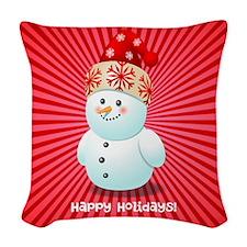 Cute Snowman Woven Throw Pillow