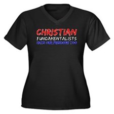 Fundies vs Freedom Women's Plus Size V-Neck Dark T