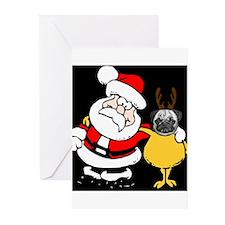 Pug with Santa Greeting Cards