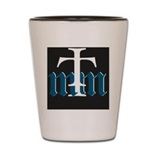 Three Merry Men blue on black with whit Shot Glass